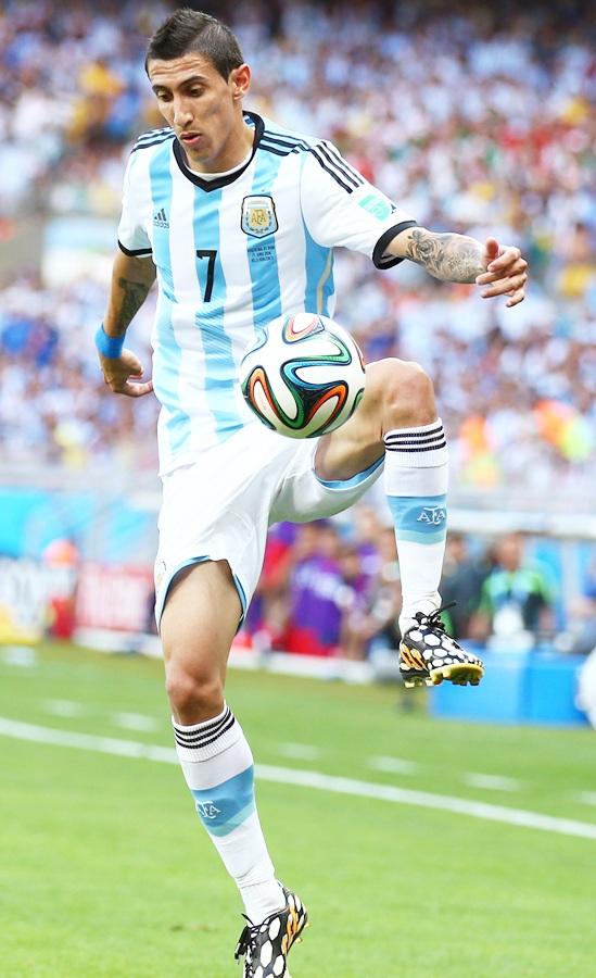 Angel di Maria of Argentina controls the ball