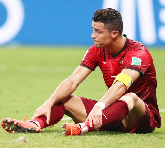 Cristiano Ronaldo of Portugal looks on