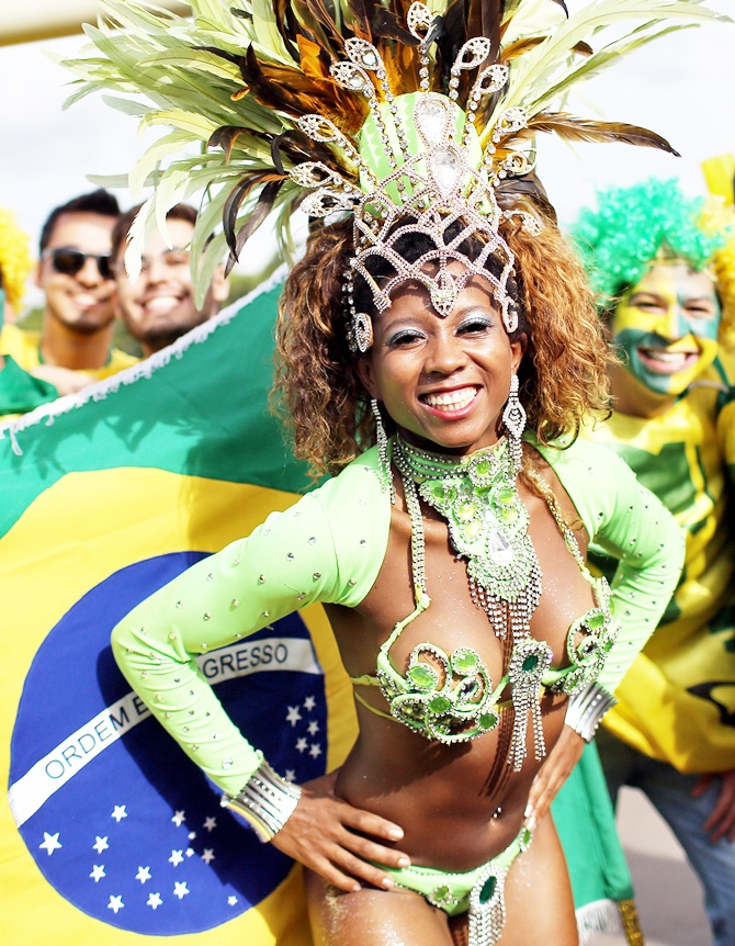 Fans arrive before the Group A match between Brazil and Cameroon at Estadio Nacional