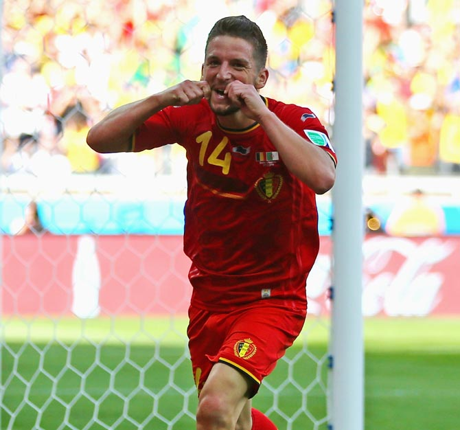 Dries Mertens of Belgium celebrates scoring his team's second goal against Algeria.