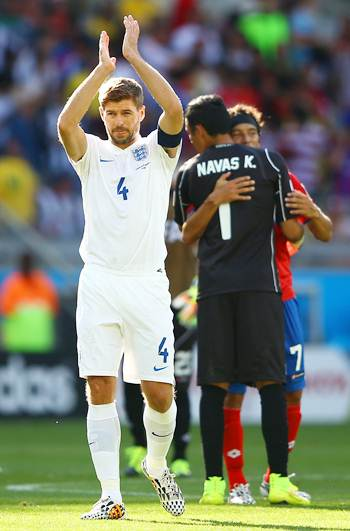 Steven Gerrard of England acknowledges the fans after the 0-0 draw against Costa Rica.