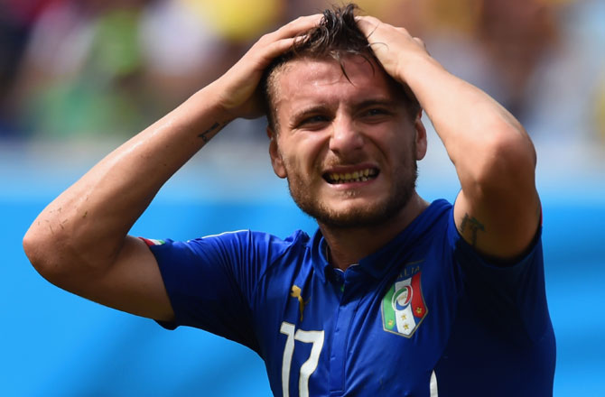 Ciro Immobile of Italy reacts after missing an opportunity