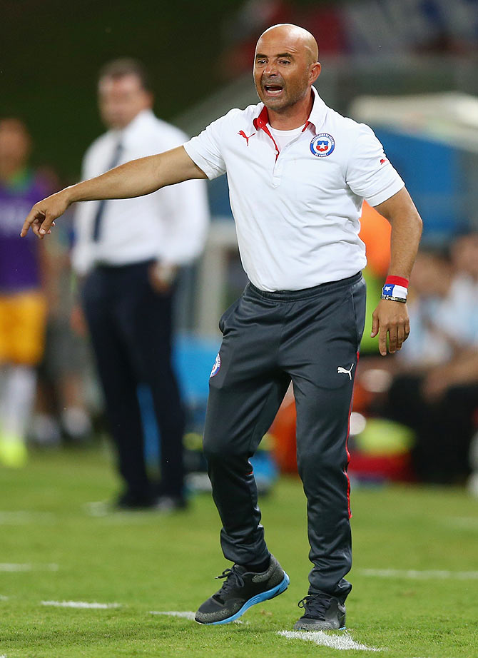 Head coach Jorge Sampaoli of Chile reacts
