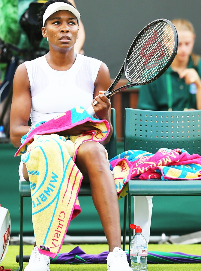 Venus Williams of the United States has a break