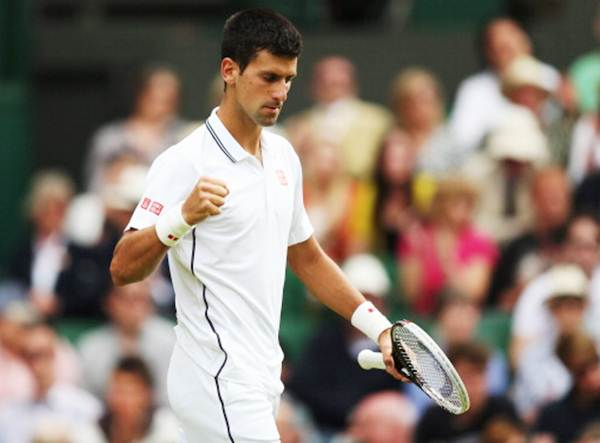 Novak Djokovic of Serbia celebrates a point during his match against  Radek Stepanek of the Czech Republic
