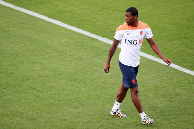 Georginio Wijnaldum in action during the Netherlands training session