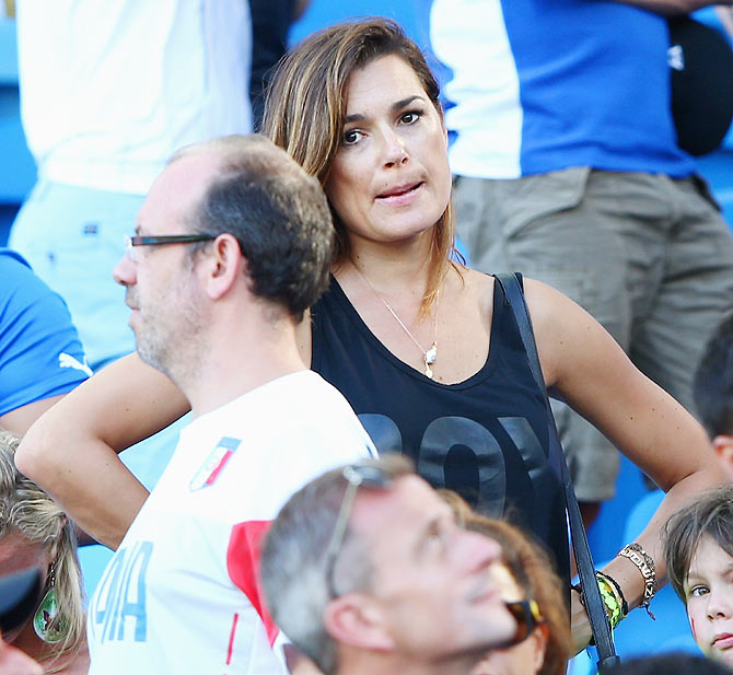 Alena Seredova, wife of Italy's goalkeeper and captain Gianluigi Buffon wears a dejected look on Tuesday