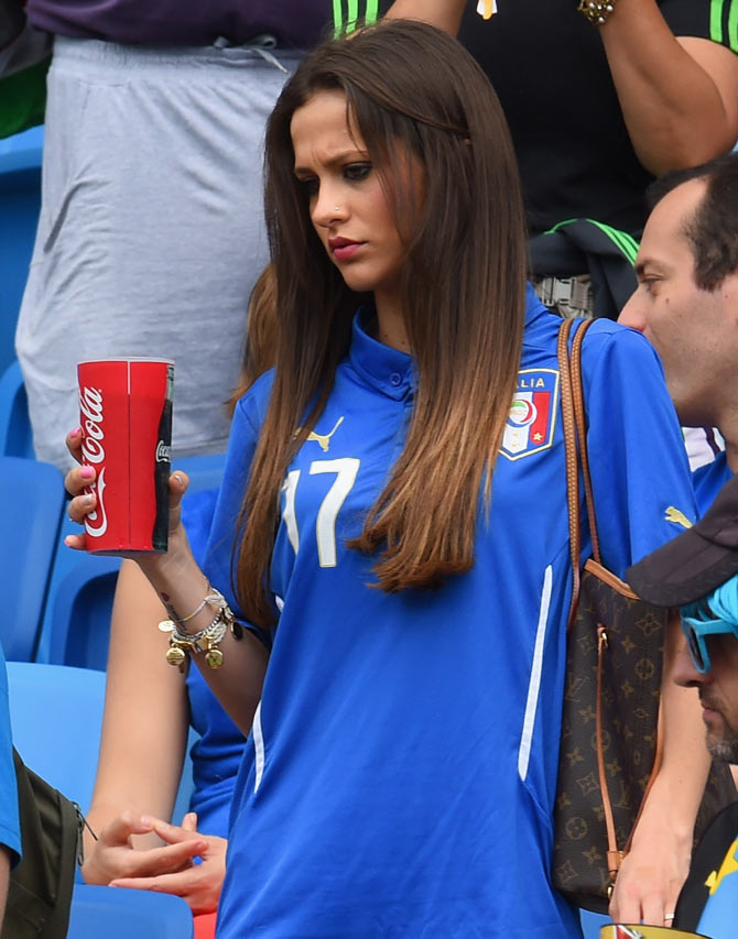 Jessica Immobile, wife of Ciro Immobile of Italy prior to the match on Tuesday