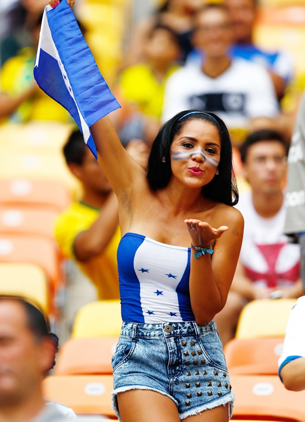 A Honduras fan shows her support prior to the FIFA World Cup Brazil   Group E match between Honduras and Switzerland at Arena Amazonia