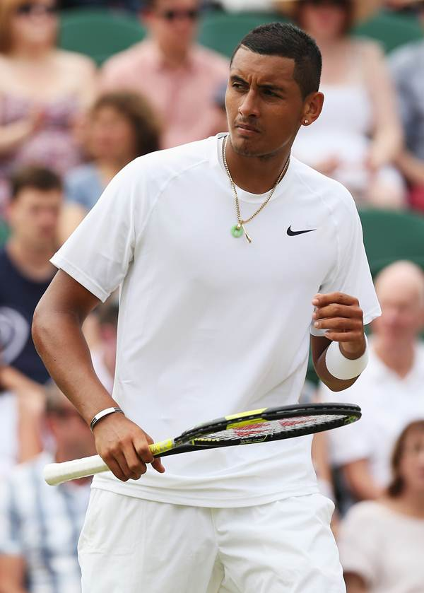 Nick Kyrgios of Australia reacts during his men's singles match against Richard Gasquet