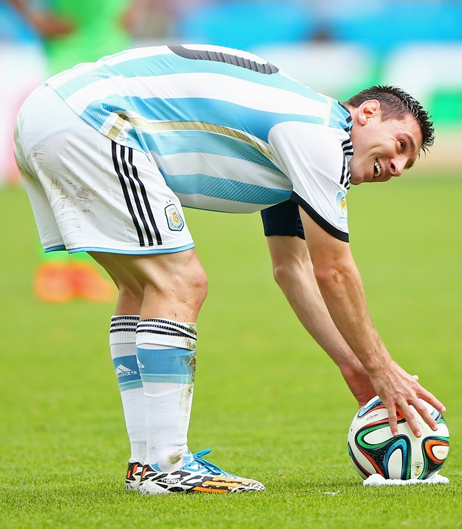 Lionel Messi of Argentina prepares to take a free kick