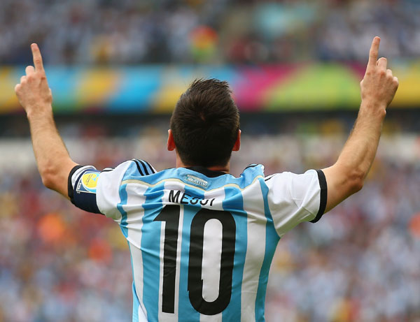 Lionel Messi of Argentina celebrates scoring against Nigeria in Porto Alegre