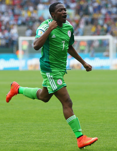 Ahmed Musa of Nigeria celebrates scoring his team's first goal