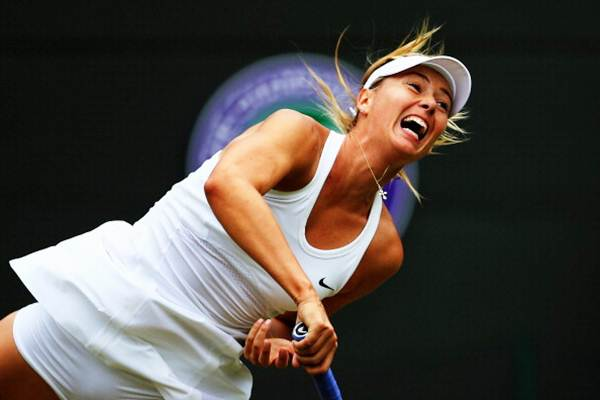 Maria Sharapova in action against Timea Bacsinszky of Switzerland