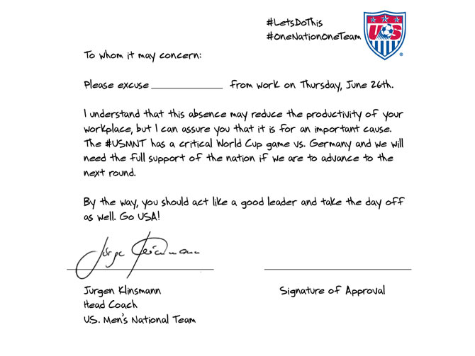The lwave letter that has been posted by the U.S. team for their fans