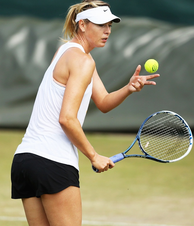 Maria Sharapova of Russia during a practice session
