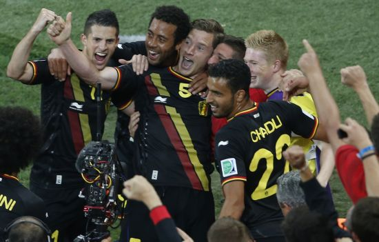 Belgium's Jan Vertonghen (centre) celebrates his goal with team mates