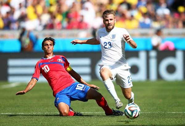 England's Luke Shaw controls the ball during the 2014 FIFA World Cup Brazil Group D match against Costa Rica