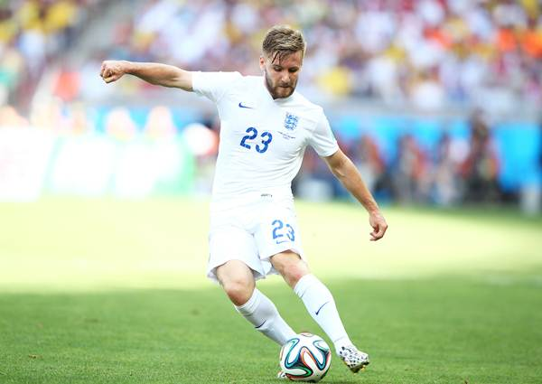 England's Luke Shaw is challenged by Bryan Ruiz of Costa Rica during the 2014 FIFA World Cup Brazil Group D match