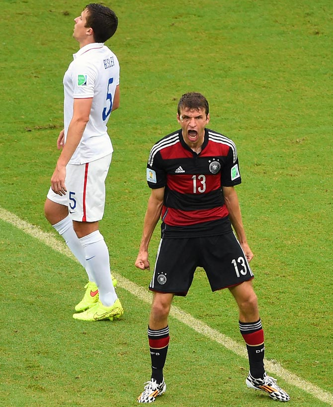 Germany's Thomas Mueller celebrates after scoring the goal