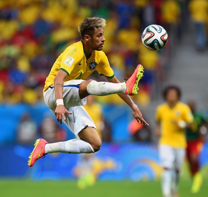 Brazil's Neymar in action