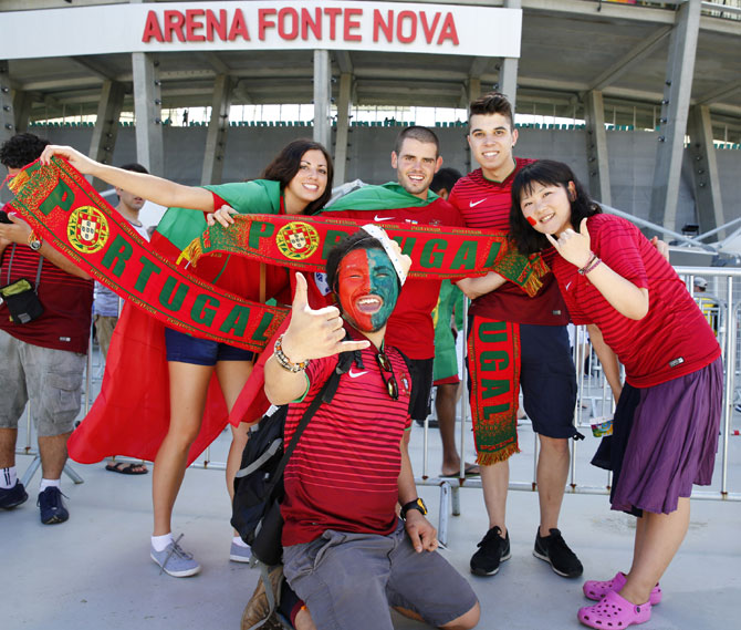 Portuguese fans at the Arena Fonte Nova