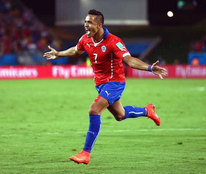 Alexis Sanchez of Chile celebrates after scoring a goal against Australia