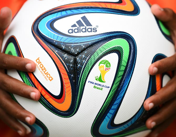 A close-up of the Brazuca match ball