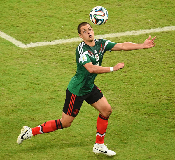 Javier Hernandez of Mexico controls the ball