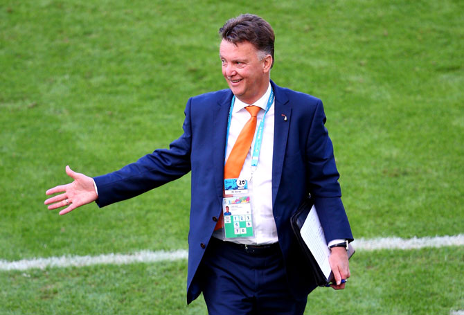 Head coach Louis van Gaal of the Netherlands reacts