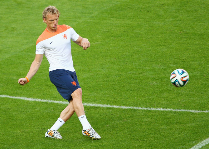 Dirk Kuyt of the Netherlands kicks during a Netherlands training session