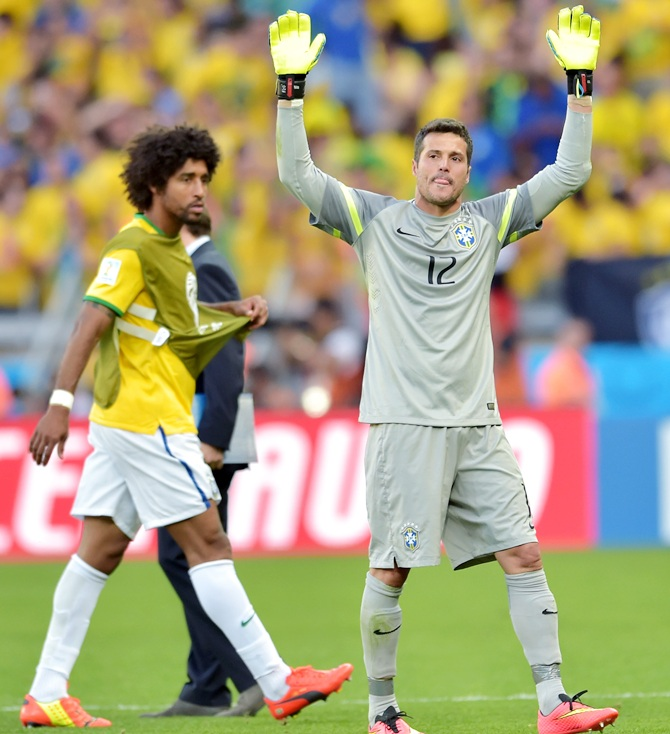 Julio Cesar of Brazil acknowledges the fans