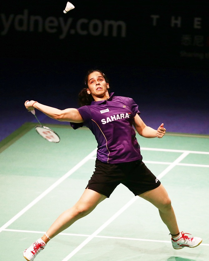 Saina Nehwal competes in the womens singles final against Carolina Marin of Spain