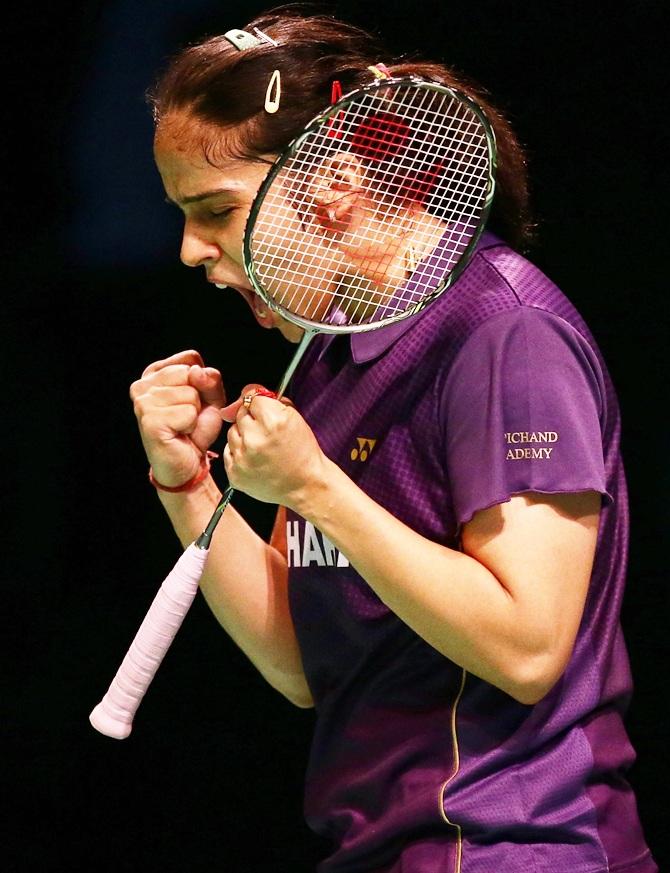 Saina Nehwal celebrates after winning a point