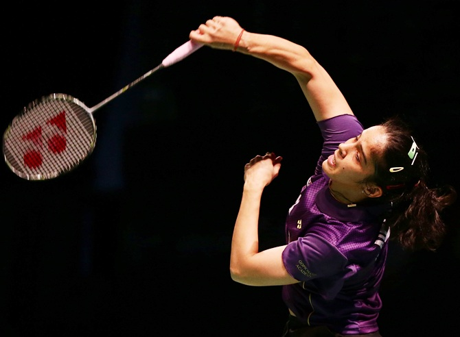 Saina Nehwal executes a smash