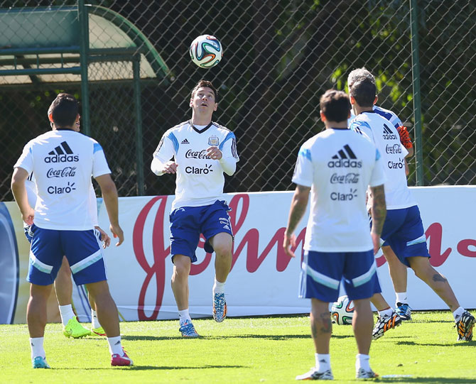 Argentina's Lionel Messi in a team training session