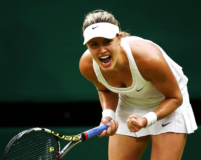 Eugenie Bouchard celebrates winning her match against Alize Cornet