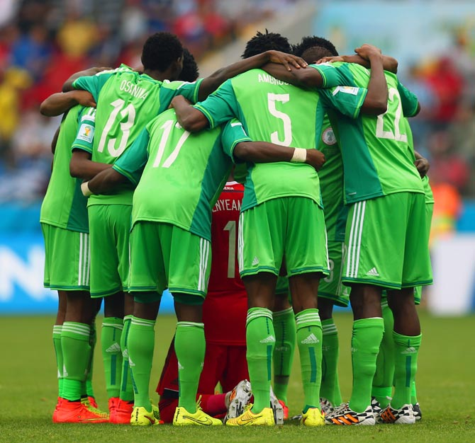 Nigeria's players in a huddle