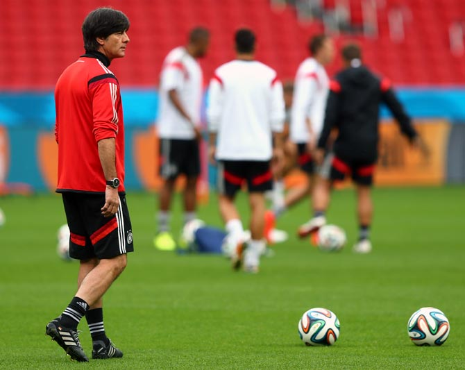 Joachim Loew, head coach of Germany gestures