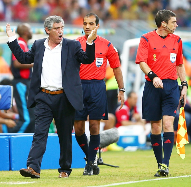 Head coach Fernando Santos of Greece gestures