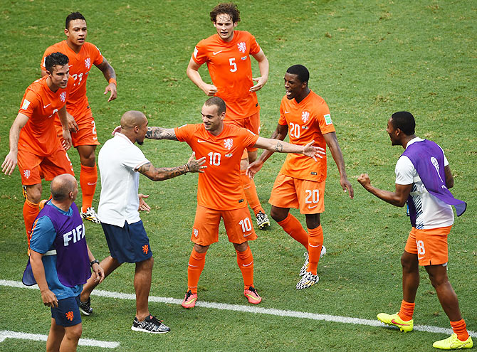 The Netherlands' Wesley Sneijder with teammates