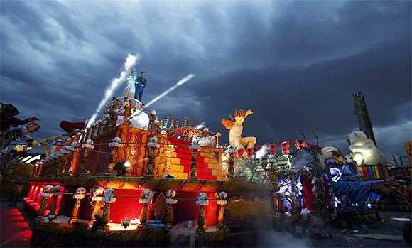 Lights and smoke are tested in a carnival float at the Rosas de Ouro Samba School, in preparation for the annual carnival parade in Sao Paulo on Thursday