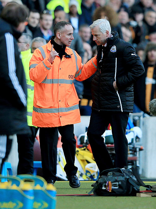 Alan Pardew manager of Newcastle United is sent off after a clash with David Meyler of Hull City on Saturday