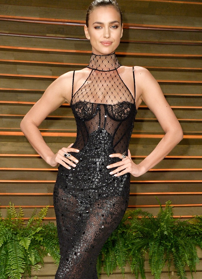 Model Irina Shayk attends the 2014 Vanity Fair Oscar Party.