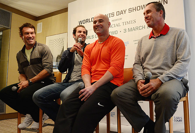 Former tennis players Pat Cash, Pete Sampras, Andre Agassi and Ivan Lendal speak to the media during a World Tennis Day London Showdown press conference at the Athenaeum Hotel at Piccadilly in London on Monday