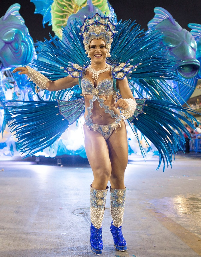 A member of Salgueiro Samba School performs during their parade at 2014 Brazilian Carnival.