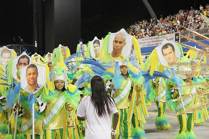 Brazilian Soccer World Champions banners on Leandro de Itaquera parade in Sao Paulo, Brazil.