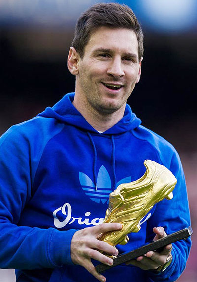 Lionel Messi with the Golden Boot