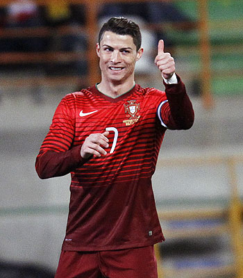 Cristiano Ronaldo celebrates after creating a record on Wednesday