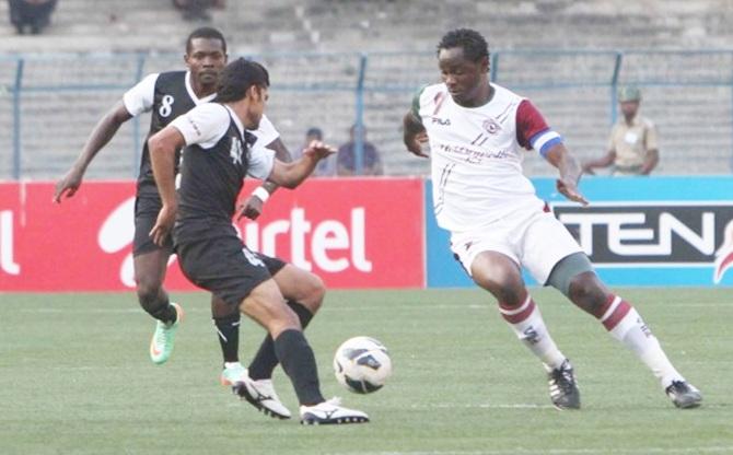 Mohun Bagan's Odafa, right, in action against Mohammedan Sporting